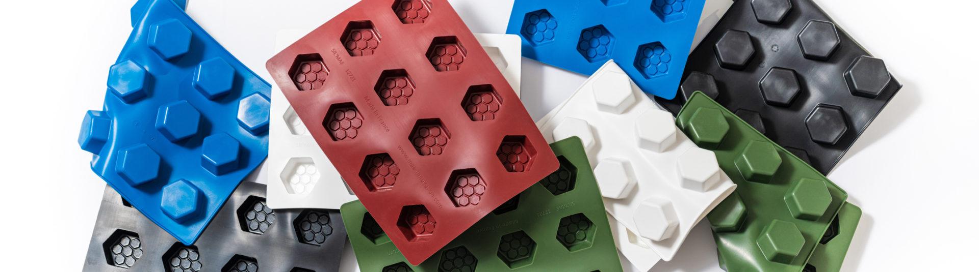 moules silicone multicolores